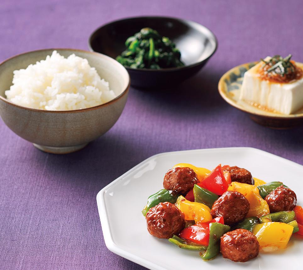 彩り野菜肉団子の献立